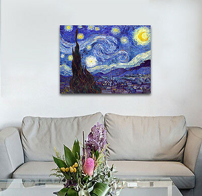 Starry Night by Van Gogh Fine Art Print Painting Reproduction on Canvas Framed 12