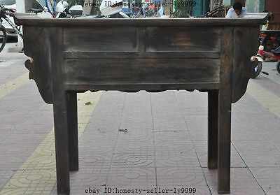 "44"" old chinese Antique Furniture Hand-carved huanghuali wood flower Tables Desk 9"