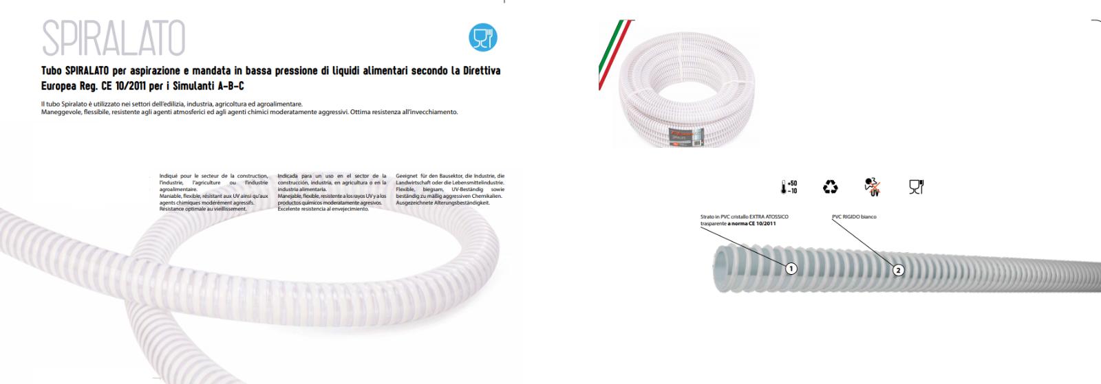 Tubo Spiralato PVC Rigido Bianco D.25mm Alimentare Travaso Irrigazione -10°+50 ° 3