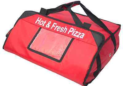 "2 PIZZA DELIVERY BAGS (20""x 20""x 7"") Full Insulated  Heavy Duty (1 Red+1 Black) 6"