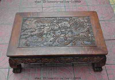 old chinese huanghuali wood carved dragon beast foo dog lion desk Tea table A 4