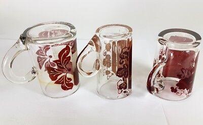 3 Krüge/ Henkel- Becher, Glas gebeizt, um 1900 AL370 5