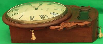 "Brown Of Norwich Antique English 8 Day Fusee Mahogany 12"" Drop Dial Wall Clock 12"