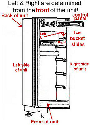SubZero Ice Bucket Slide - Left side 7014649 Verify Left/Right on Diagram below! 2