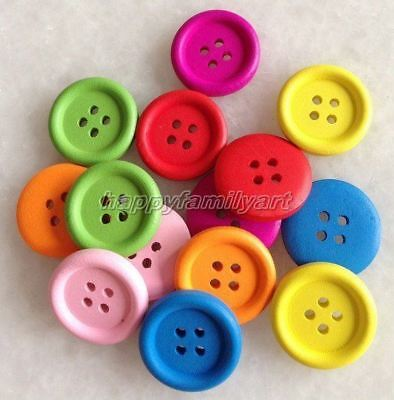 100 PCS Mixed Color Big Round 4 Holes Wood Sewing Button Scrapbook ynk212 3
