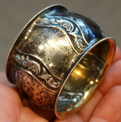 RUSSIAN Hallmarks ? STERLING SILVER Antique NAPKIN RING w/ GOLD VERMEIL WASH 3
