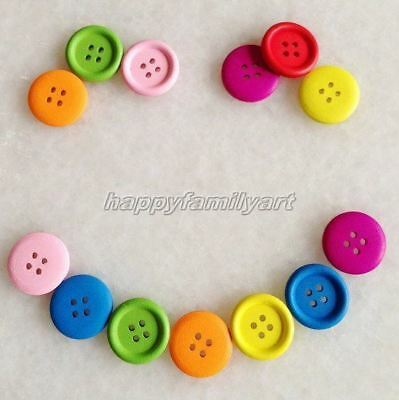 100 PCS Mixed Color Big Round 4 Holes Wood Sewing Button Scrapbook ynk212 4