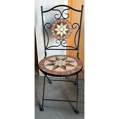 Sedie In Ferro Battuto Pieghevoli.Arredo Per Esterno Tavolino Con Mosaico 2 Sedie In Ferro Battuto