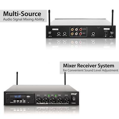 Pyle Wireless Microphone & Bluetooth Receiver System, Audio Sound Mixer (2) Mics 5