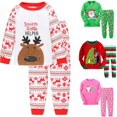 Kids Boys Girls Christmas Pyjamas Childrens Xmas Pj's Cotton Sizes 1-7 Years Set 4