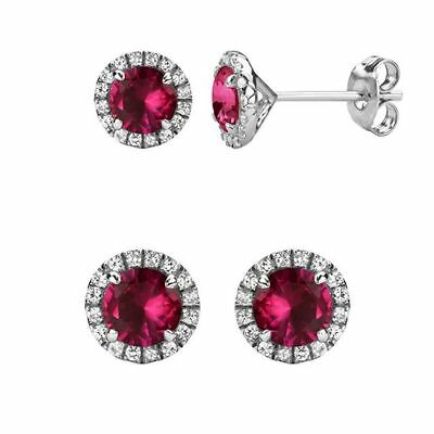 0.80ct Diamond Created Square Round Halo Stud Earrings 14k White Gold Plated 5