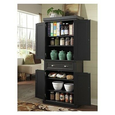 Tall Kitchen Pantry Storage Cabinet Utility Closet Distressed Solid Wood Black 3