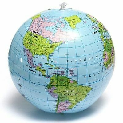 38cm Inflatable World Globe Earth Teaching Geography Map Beach Ball Kids Toy 2