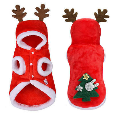 UK Pet Cat Dog Christmas Outfit Costumes Reindeer Hoodie Dress Xmas Clothes Coat 5