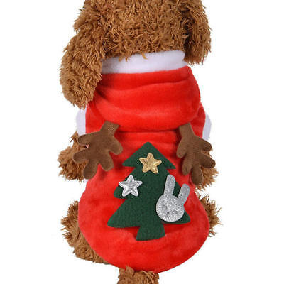 UK Pet Cat Dog Christmas Outfit Costumes Reindeer Hoodie Dress Xmas Clothes Coat 2