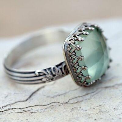 Women 925 Silver Gemstone Vintage Peridot Vintage Moonstone Wedding Ring Sz 6-10 2