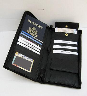 Black Leather Travel Organizer Wallet Boarding Pass Zip Passport Ticket Holder 4
