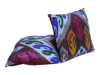 Exklusive orient Vintage Seiden Ikat Kissen Dekokissen silk Pillow Uzbekistan BL Dywany i kilimy Antyki i Sztuka