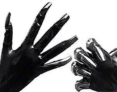 Gummi Latex Rubber Handschuhe mit Fingernageltips rot Top Markenware Gr. M 7