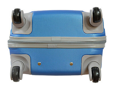 Maleta pequeña para cabina rígida 4 ruedas 360º azul liso gira equipaje de mano