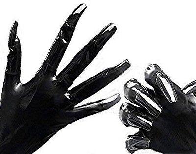 Geile Gummi Latex Rubber Handschuhe Gr. M Krallen black & Swaroviski Edelsteinen