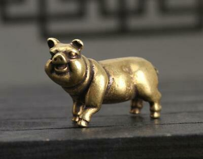"1.3""Collection Curio Chinese Bronze 12 Zodiac Animal Likable Pig Small Statue 6"