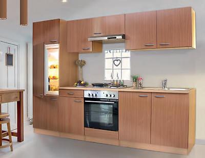 KÜCHENZEILE KÜCHE Küchenblock 270 cm breit Grau mit E-Geräten auch ...