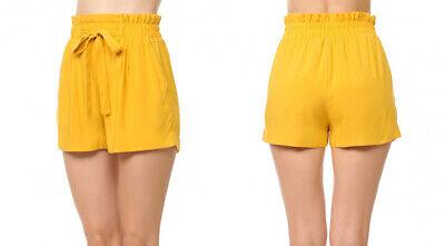 Women's Woven Paperbag High Waist Shorts Tie Belt Pockets Casual Solid Basics 11