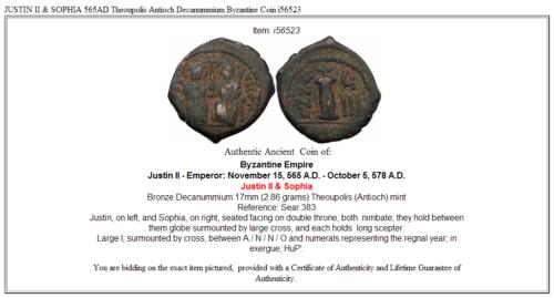 JUSTIN II & SOPHIA 565AD Theoupolis Antioch Decanummium Byzantine Coin i56523 3