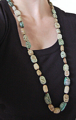 Long Antique EGYPTIAN SCARAB NECKLACE  (47 Scarabs) - Faience             (4B18) 5