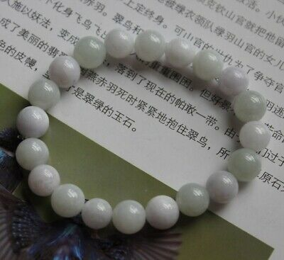 CERTIFIED Natural Grade A Untreated Light Lavender Jade Jadeite Bracelet 2