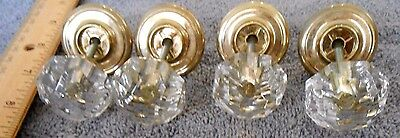 "4 Vintage Clear Glass Doorknobs with gold-tones hardware - 1¼"" diameter, height 8"