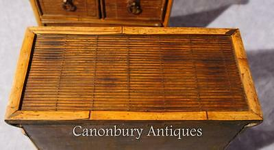 Pair Chinese Antique Bamboo Chest Drawers Mini Travelling Samples 1880 11