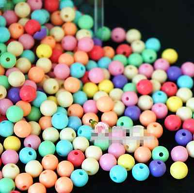 Smooth Ball Spacer Pastel Color Acrylic Round Loose Beads 4mm 6mm 8mm 10mm 12mm 3
