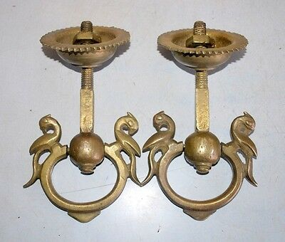 Old Antique India Brass Hand Carved Door Handle Peaocock Figure Pair Home Decor 11