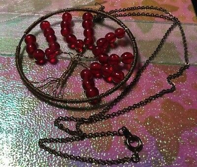 Retro Boho Brass wire red bead gold metal chain tree of life Pendant Necklace