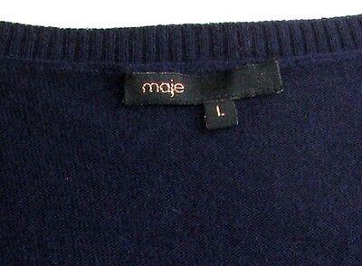 963eb8fd66ed7 ... Maje - Robe Pull Courte Laine Angora Bleu Fonce   Sequins T L   38 -  Excl