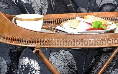 Beistelltisch Kupfer Teewagen Metall Messing Vintage Ovaler Seitentisch 7