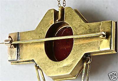 Victorian Antique 18K Gold Egyptian Scarab Pin Pendant 5