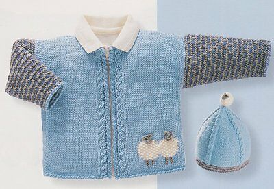 Baby Sheep Sweater Jacket Scarf Hat 0 2 Years Dk Knitting