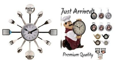 Modern Home Cutlery Fork Kitchen Tableware Wall Pointer Analog Clock Numeral 3