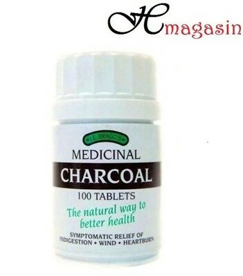 Bragg's Medicinal Charcoal 100 Tablets Lactose Free Tabs New 3