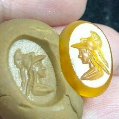 Stunning ancient carnelian Intaglio Handsome Greek Young King Signet Bead 4
