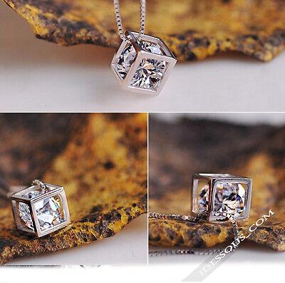 Gold Halskette mit Glanz Zirkon Diamant Kette Damen CollierAnhänger LA FERANI