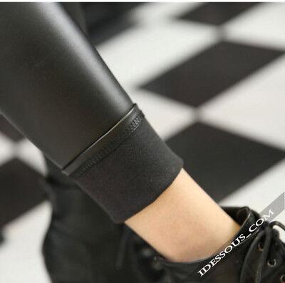 Winter Thermo Matt Leder Optik Leggings High Waist blickdicht Hose warm S M L 4