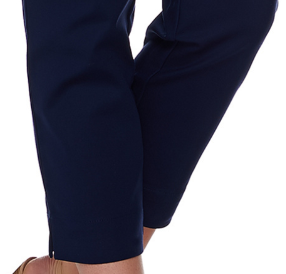 Dennis Basso Regular Size 4 Stretch Woven Crop Pants Navy Blue NEW 3