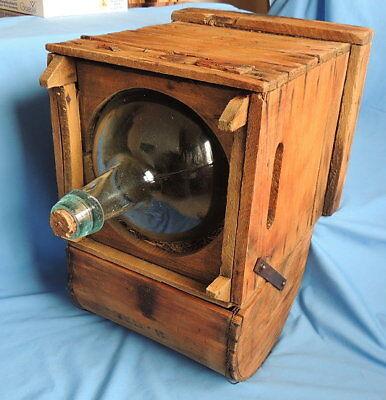 Primitive Antique Higham Rocker Lid Wood Box W/Antique Glass Bottle 4