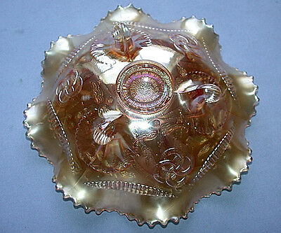 Northwood Carnival Art Glass Iridescent Marigold/Amethyst  Wishbone Pattern Bowl 6