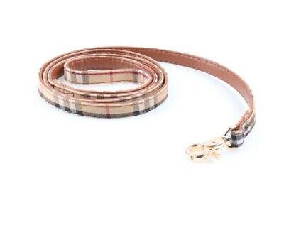 Plaid Dog Cat Collar - Pet Bowtie Pu Leather Adjustable Gold Buckle Leash 5