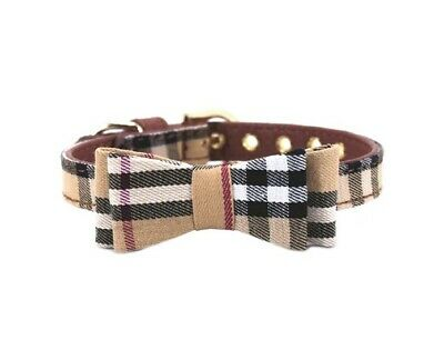 Plaid Dog Cat Collar - Pet Bowtie Pu Leather Adjustable Gold Buckle Leash 2
